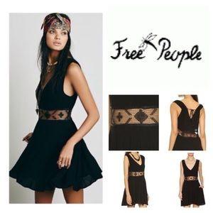 Free People mini dress  sheer waist & pockets
